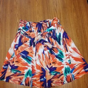 Ann Taylor print skirt with belt